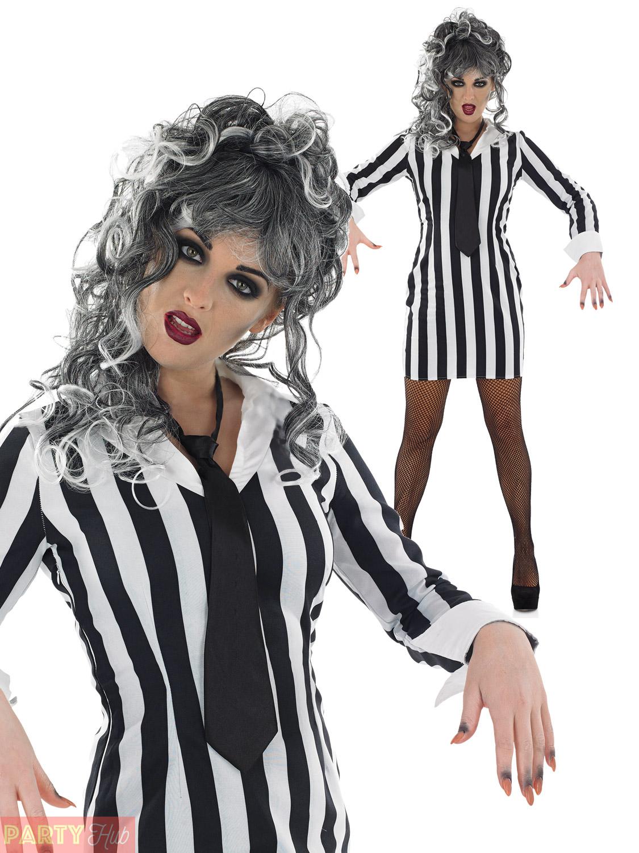 Ladies-Black-&-White-Crazy-Ghost-Costume-Womens-  sc 1 st  eBay & Ladies Black u0026 White Crazy Ghost Costume Womens Halloween Fancy ...