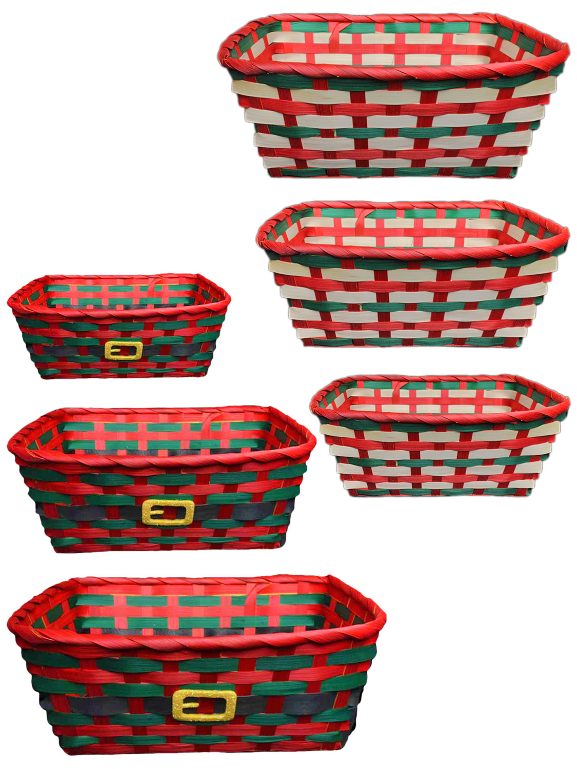 Christmas Baskets.Details About Set Of 3 Traditional Christmas Basket Hamper Red Green Wicker Storage Stackable