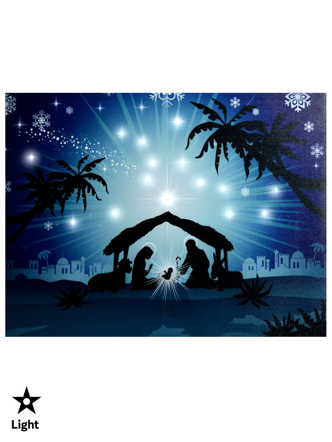 Pre lit canvas picture christmas decoration led nativity for 30 lighted nativity christmas window silhouette decoration