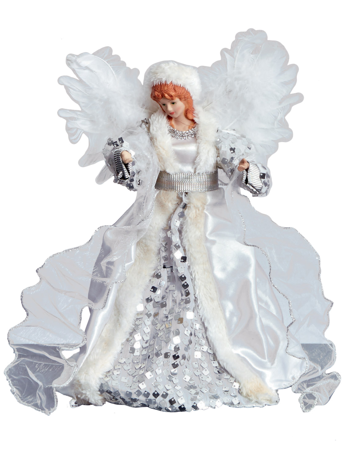 Deluxe tree top angel christmas decoration topper fur xmas for Angel christmas tree decoration