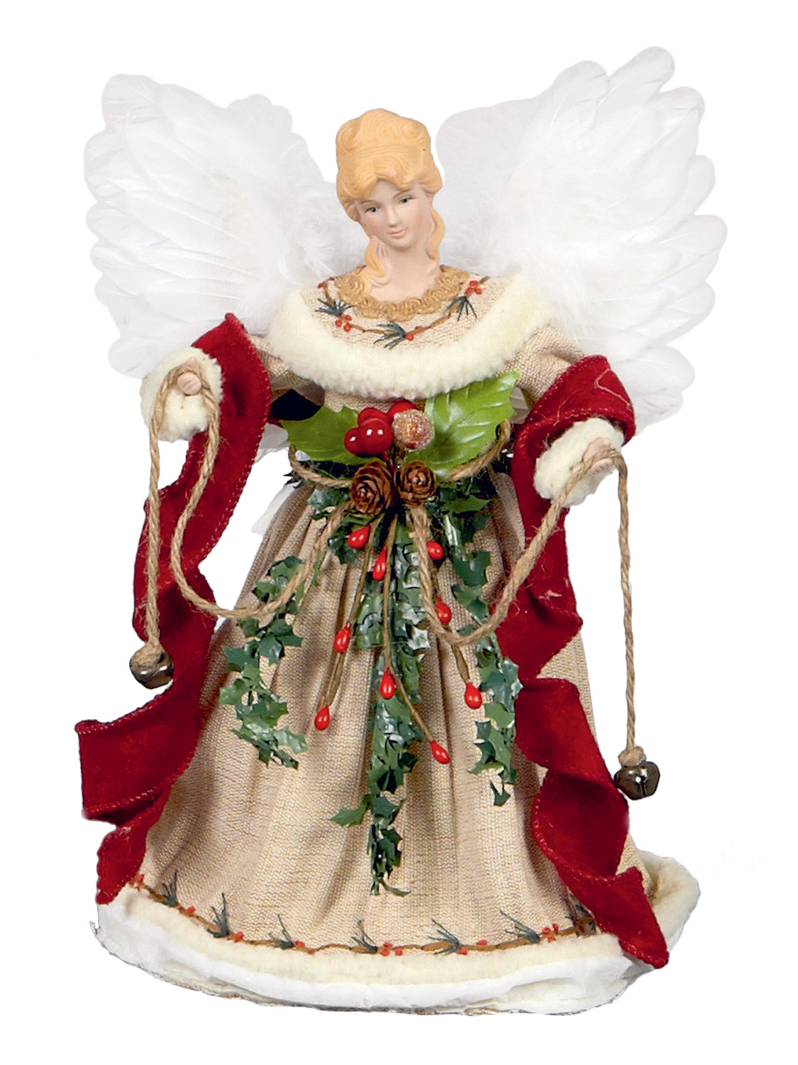 Deluxe tree top angel christmas decoration topper fur xmas for Angel christmas decoration