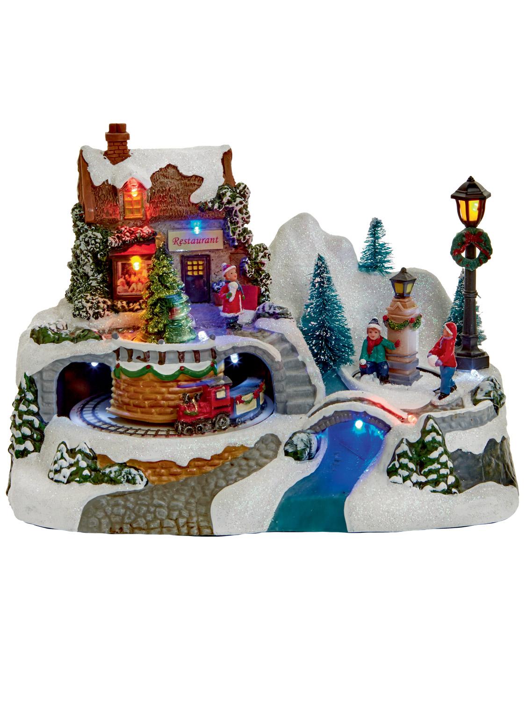 Animated Village Christmas Decoration Ornament Moving ...