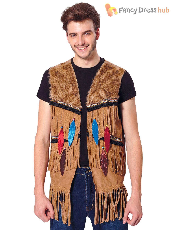 Adultos-Indio-Nativo-Chaleco-Para-Hombre-Damas-Vestido-de-Disfraz-Accesorio-Hippy-Hippie