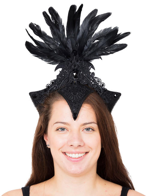 Ladies Black Burlesque Headpiece