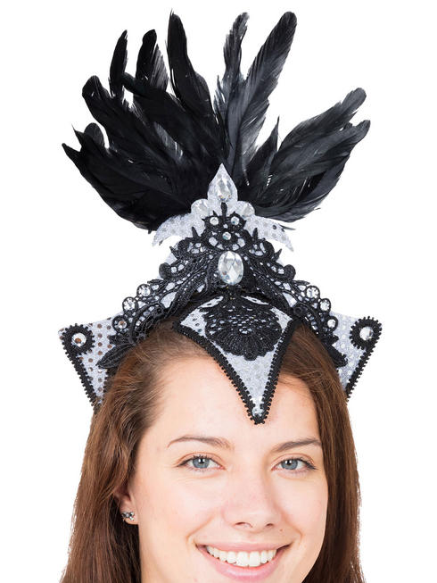 Ladies Silver Burlesque Headpiece
