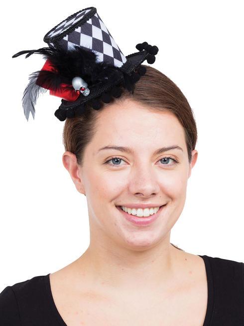 Ladies Harlequin Skull Mini Top Hat