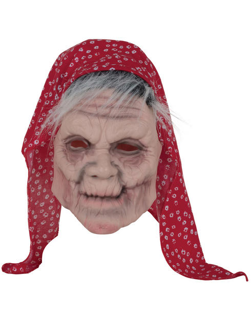 Adult's Old Lady with Headscarf Mask