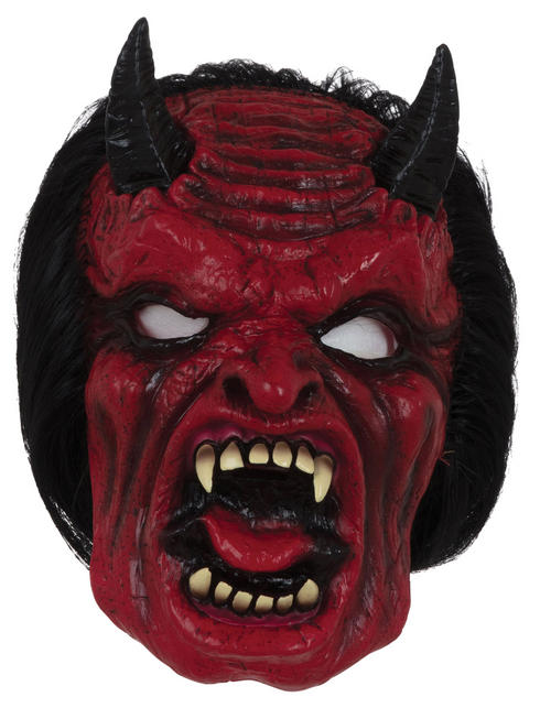 Adult's Devil Mask with Hair