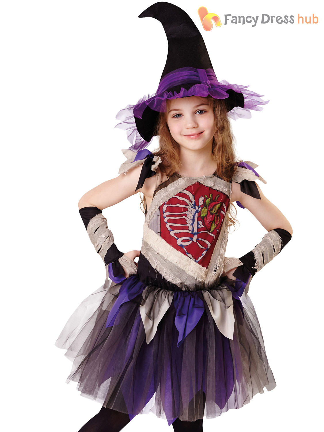 Girls-Zombie-Witch-Costume-Childs-Halloween-Fancy-Dress-  sc 1 st  eBay & Girls Zombie Witch Costume Childs Halloween Fancy Dress Kids Horror ...