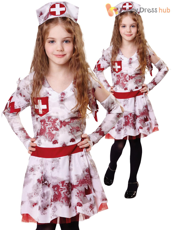 a72d585e5af48 Girls-Zombie-Nurse-Costume-Childs-Halloween-Fancy-Dress- Sc 1 St EBay