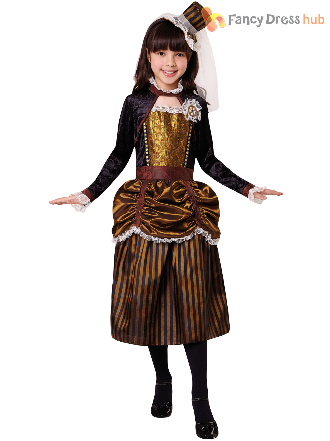 Girls-Ste&unk-Costume-Childs-Victorian-Halloween-Fancy-Dress-  sc 1 st  eBay : victorian kids costumes  - Germanpascual.Com