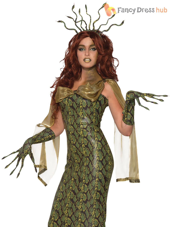 Ladies-Medusa-Costume-Deluxe-Adults-Greek-Myth-Goddess-  sc 1 st  eBay & Ladies Medusa Costume Deluxe Adults Greek Myth Goddess Fancy Dress ...