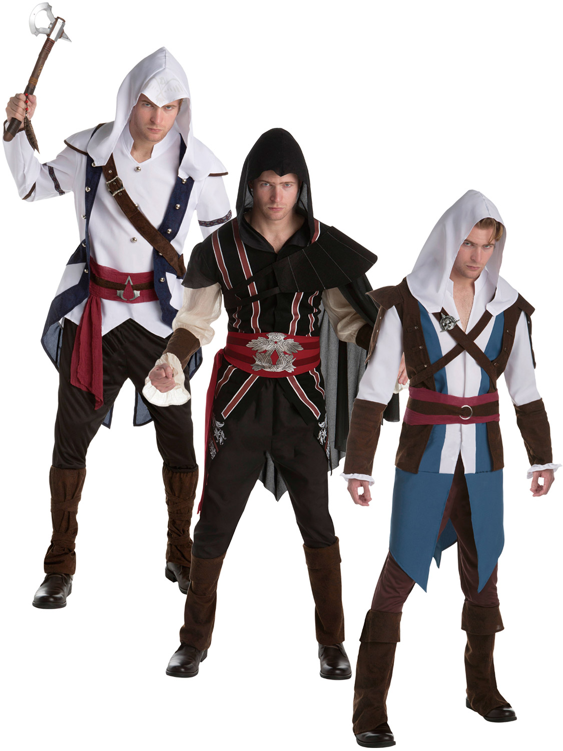 Mens Assassins Creed Costume Adults Video Game Fancy Dress Outfit