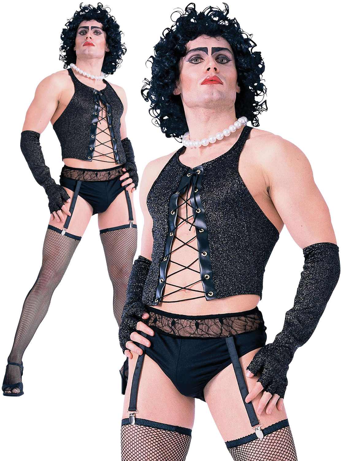 889348ef342b9 Details about Mens Frank N Furter Costume Adult Rocky Horror Halloween  Fancy Dress Outfit