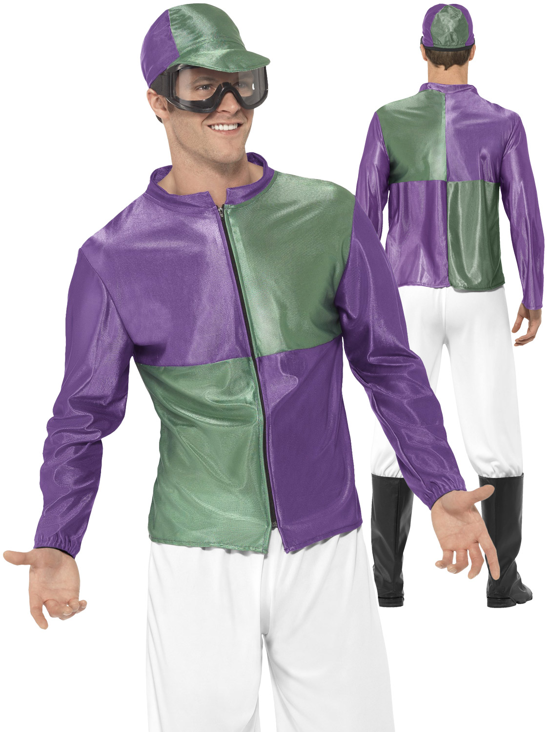 Mens Jockey Costume Adults Polo Horse Riding Fancy Dress Sports Stag ...