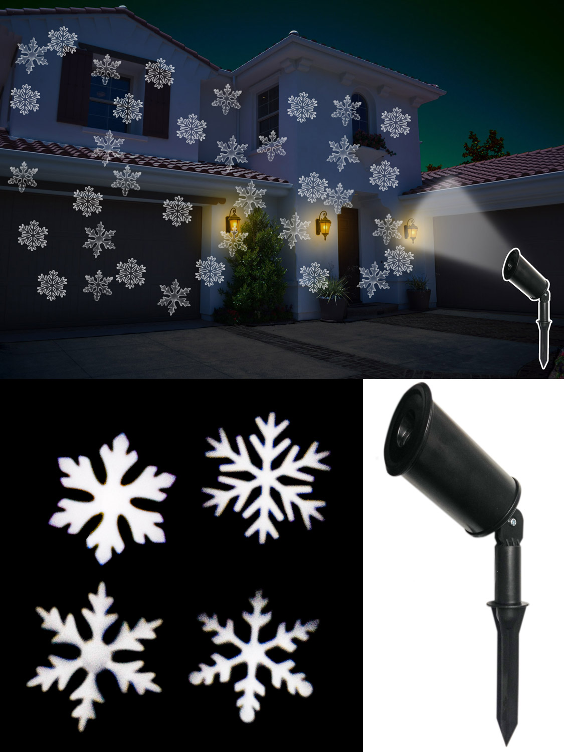 Outdoor christmas lights projector lamp moving snowflake - Snowflake exterior christmas lights ...