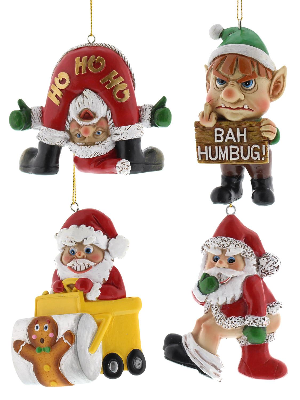 Bad santa hanging decorations funny christmas tree xmas for Bad christmas decoration