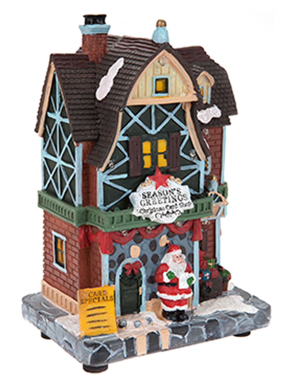 Light Up Resin Christmas Village Scene Shops House Tree ...