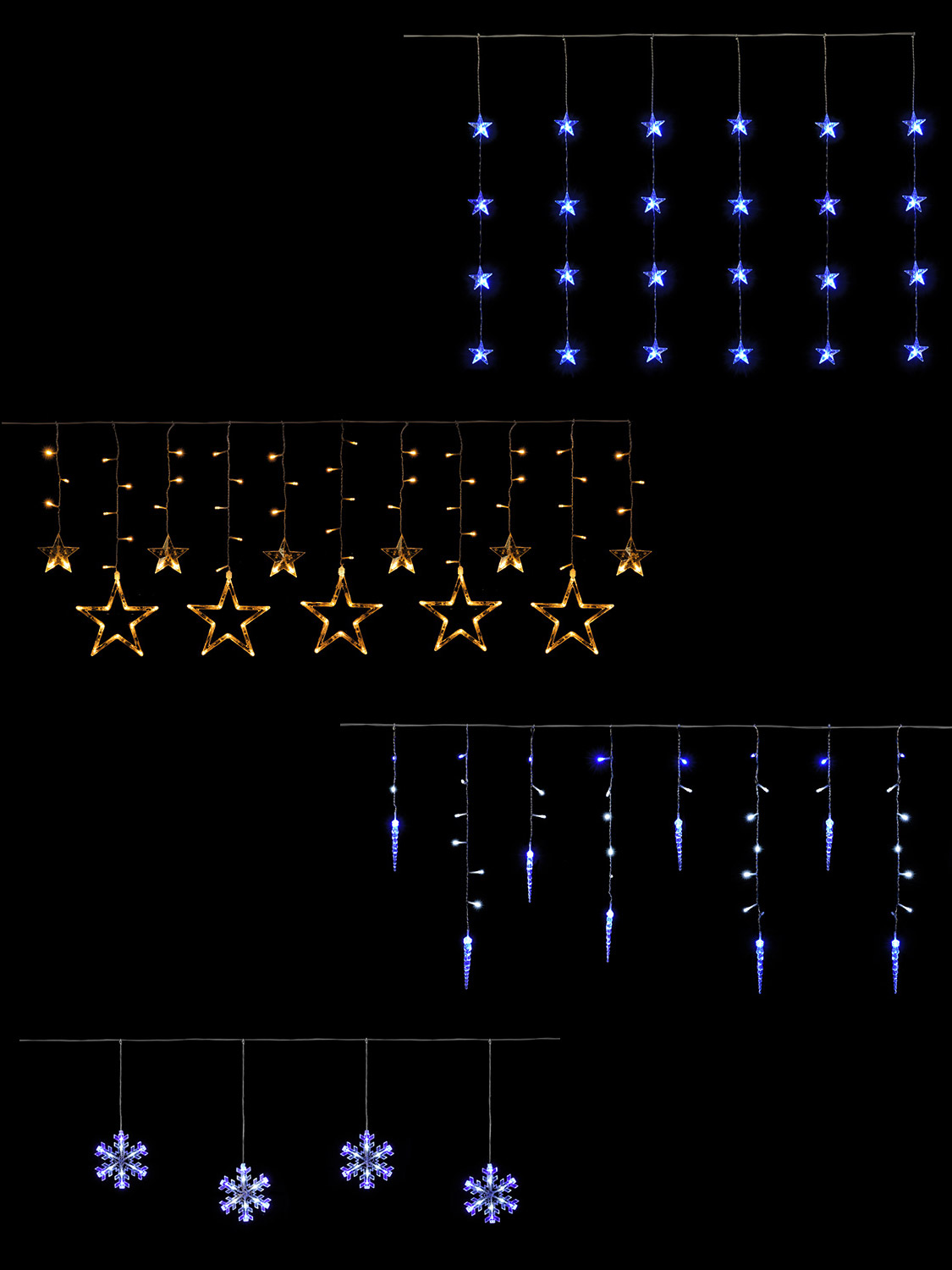 hanging christmas light curtain icicle star snowflake. Black Bedroom Furniture Sets. Home Design Ideas