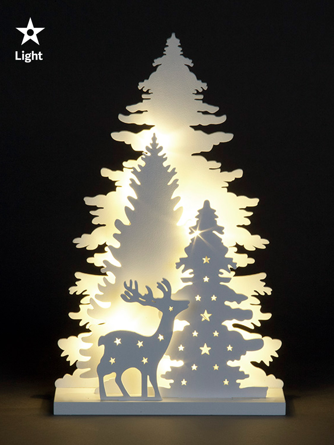Wooden White Light Up Decorations Christmas LED Ornament ...