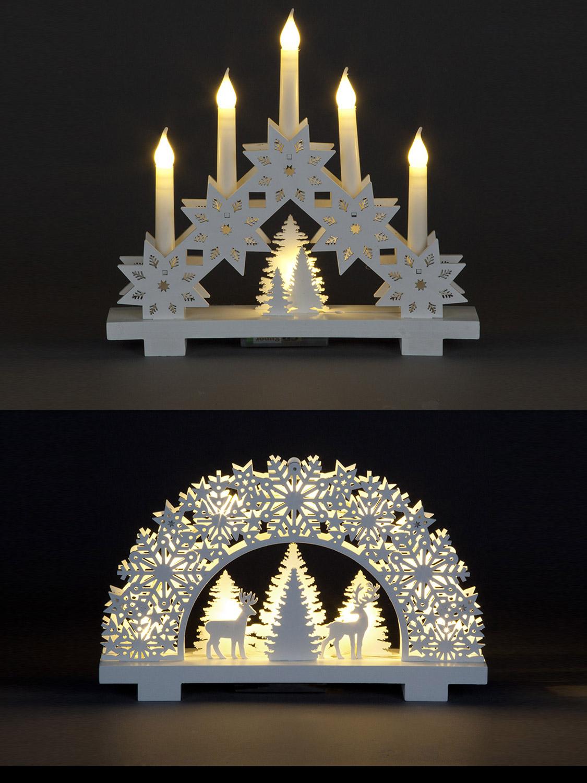 White led candle bridge wooden christmas decoration 32cm for Arch candle christmas decoration