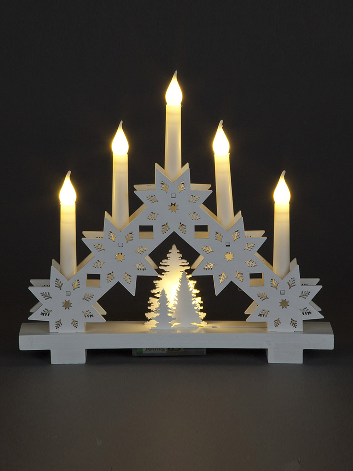 White led candle bridge wooden christmas decoration 32cm pre lit shabby chic ebay - Appealing christmas led candles for christmas decorations ...