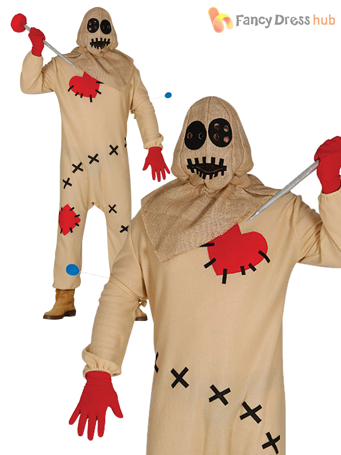 mens voodoo doll costume adult scary toy halloween fancy dress