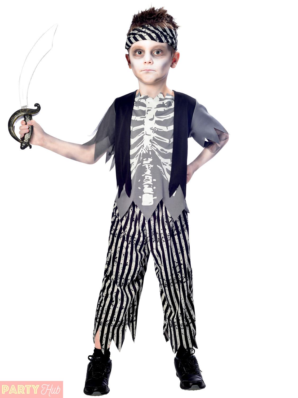 boys girls zombie pirate costume childs halloween fancy dress kids