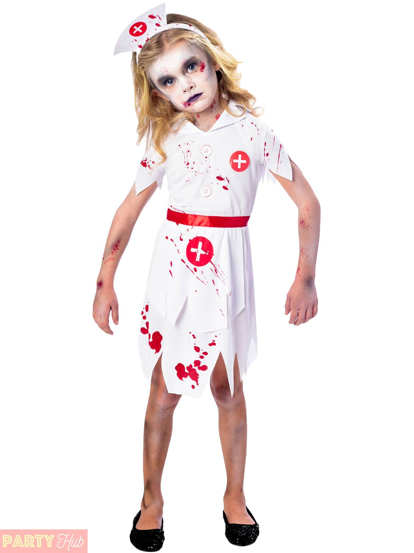 girls zombie nurse costume childs halloween fancy dress kids horror