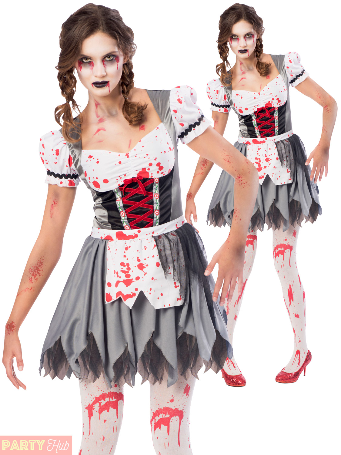 Ladies,Oktoberfest,Zombie,Costume,Adults,Halloween,Fancy,Dress,