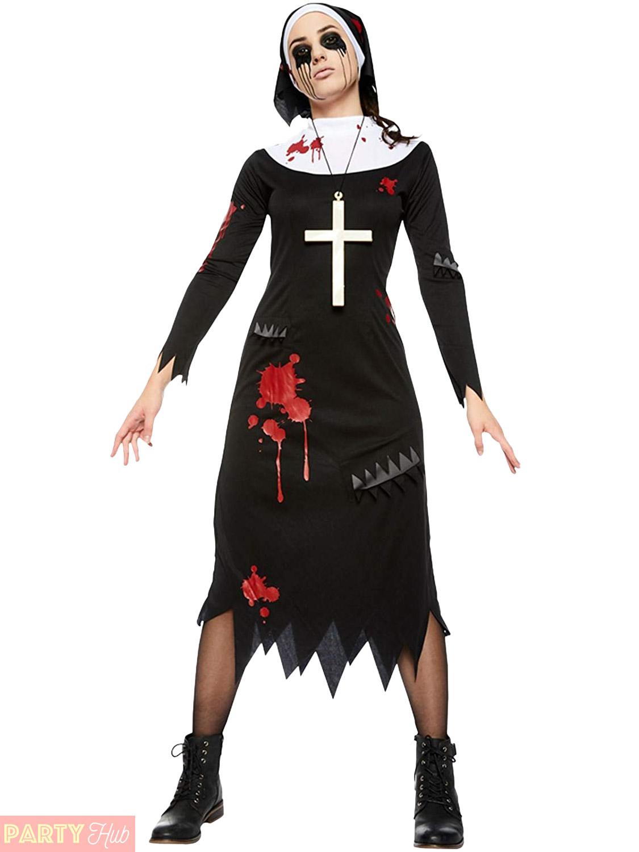 ladies zombie scary nun costume womens halloween fancy