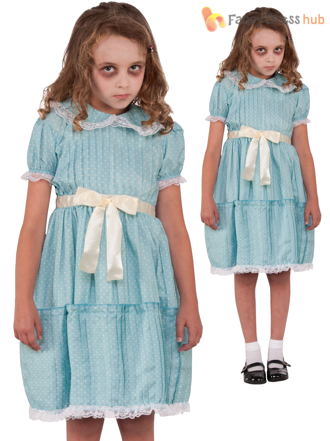 Girls-The-Shining-Twin-Sister-Costume-Childs-Creepy-Halloween-Fancy-Dress-Outfit thumbnail 4