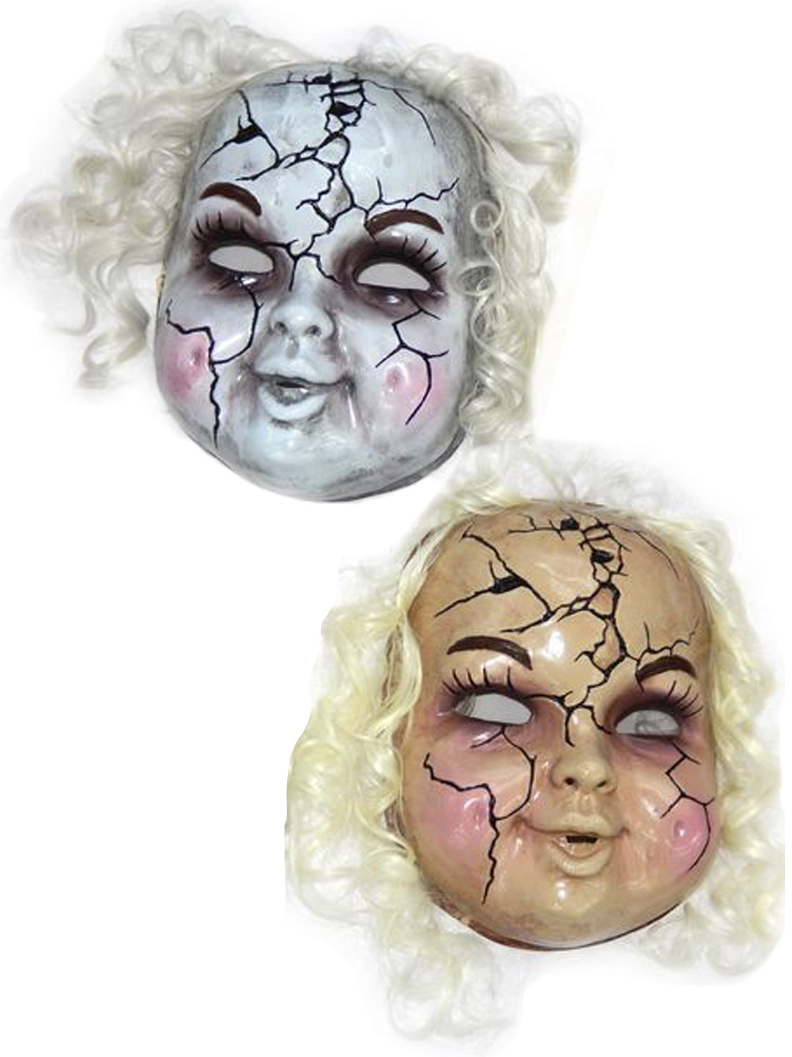 Adult size Plastic Broken Porcelain Doll Mask Creepy Doll Costume Accessory