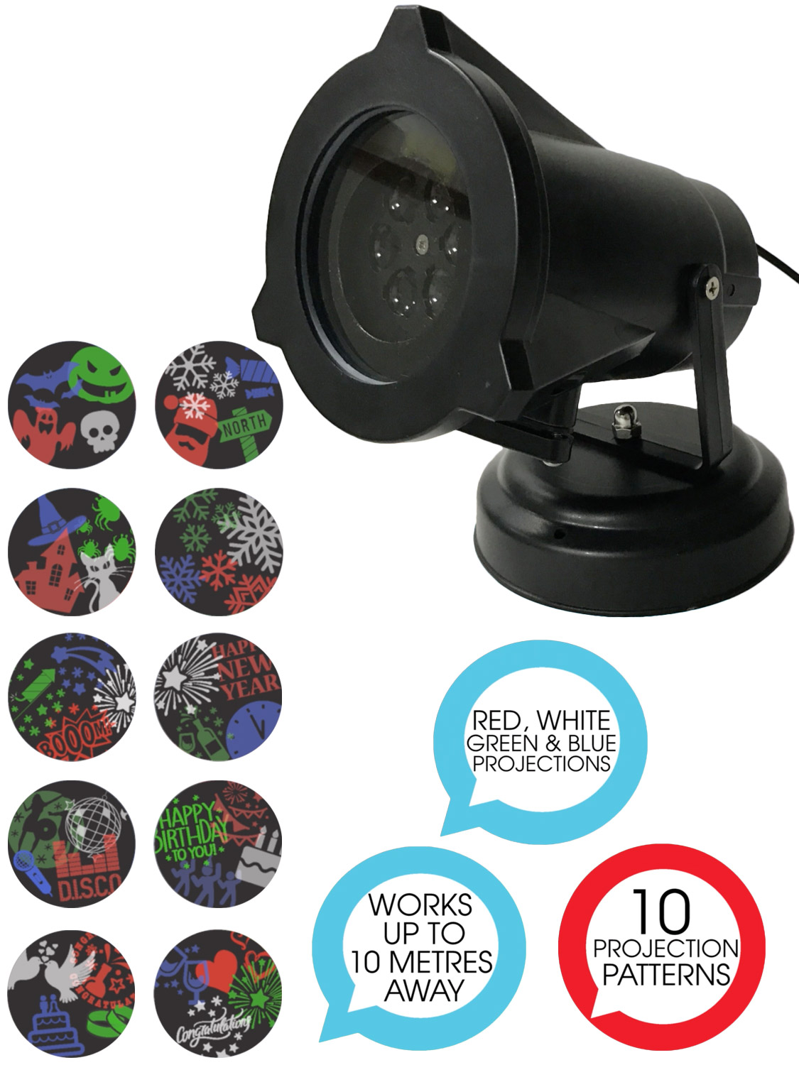 Outdoor Projector 10 Patterns Led Christmas Halloween