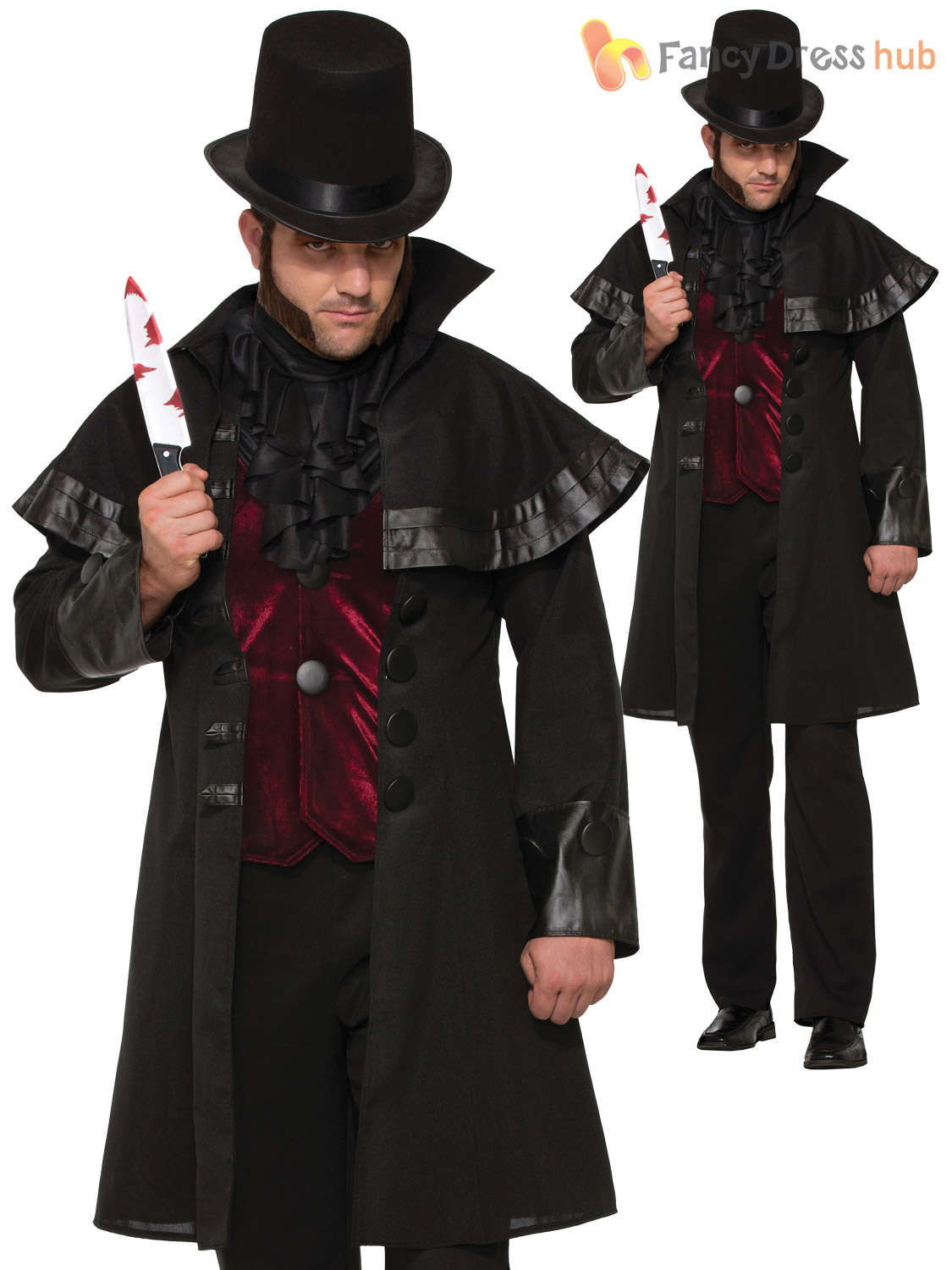 mens jack the ripper costume adults victorian halloween fancy dress