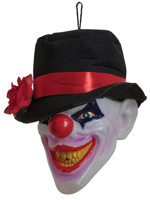 Hanging Clown Head Prop with Lights & Sound
