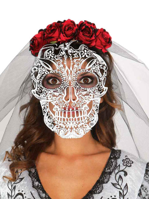 Ladies Day of the Dead Headband with Veil Adults Halloween Skeleton Fancy Dress