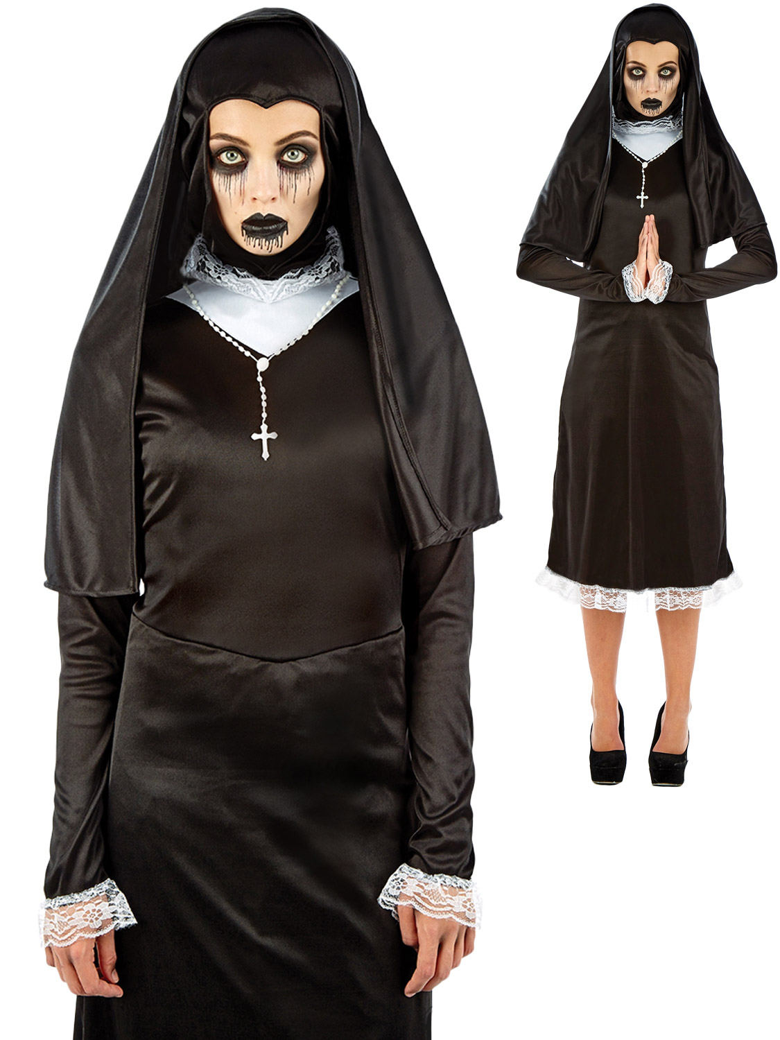 Ladies gothic nun costume adults halloween fancy dress womens transform yourself into a gothic nun with this ladies halloween costume with a religious twist solutioingenieria Image collections
