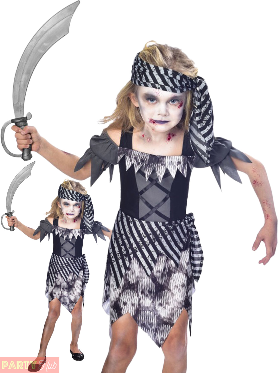 Halloween Costumes For Kids Girls Zombie.Details About Ll Girls Zombie Pirate Costume Ll Childs Halloween Fancy Dress Kids Horr