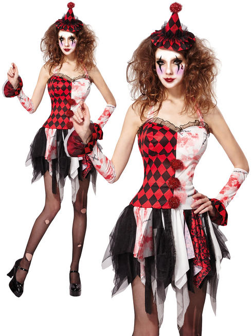 Ladies Scary Jester Lady Costume