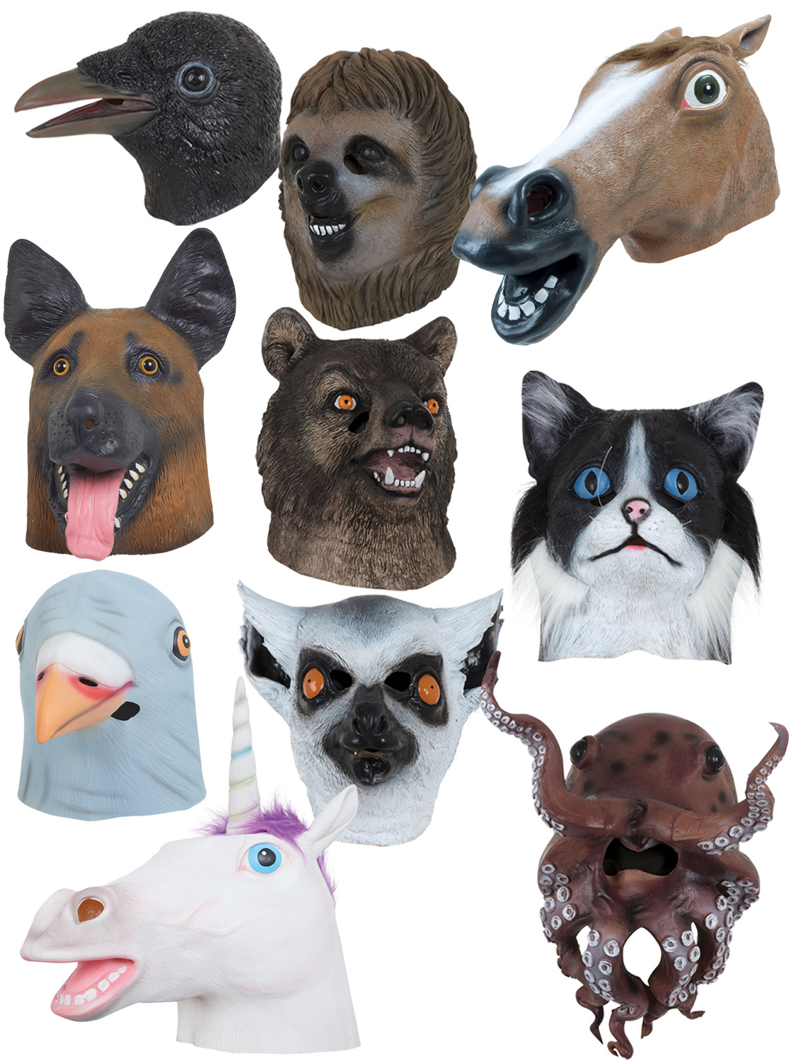 Adults Animal Mask Adults Cat Lemur Octopus Sloth Fly Crow Fancy Dress Accessory