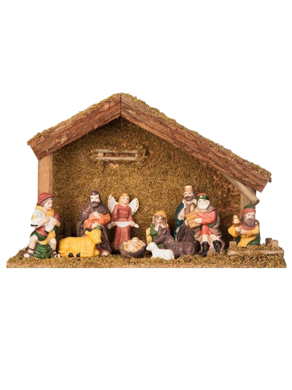 Traditional Nativity Scene Set Christmas Decoration 11 Piece Figurines Stable Ebay