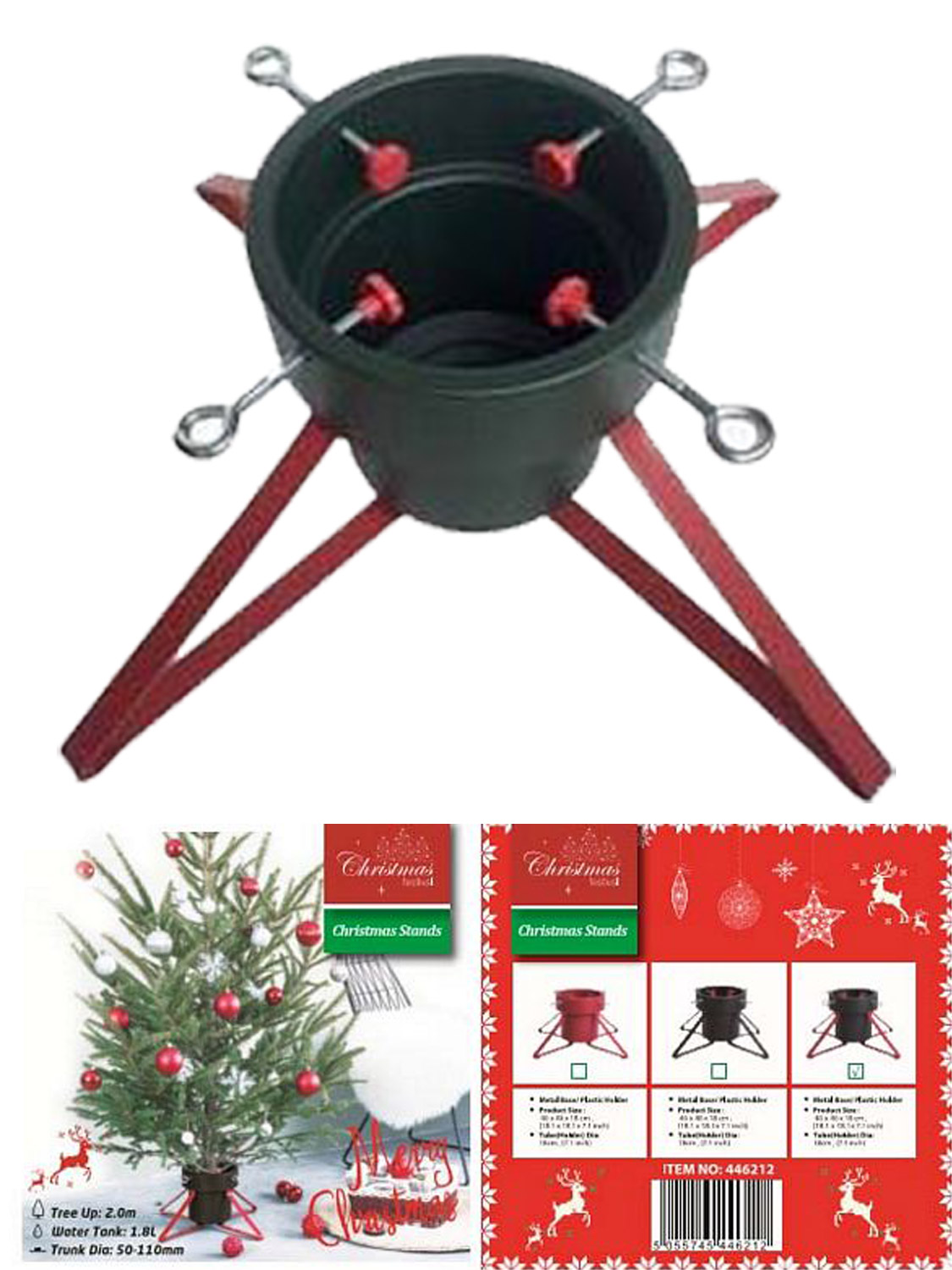 metal christmas tree stand base cover red black