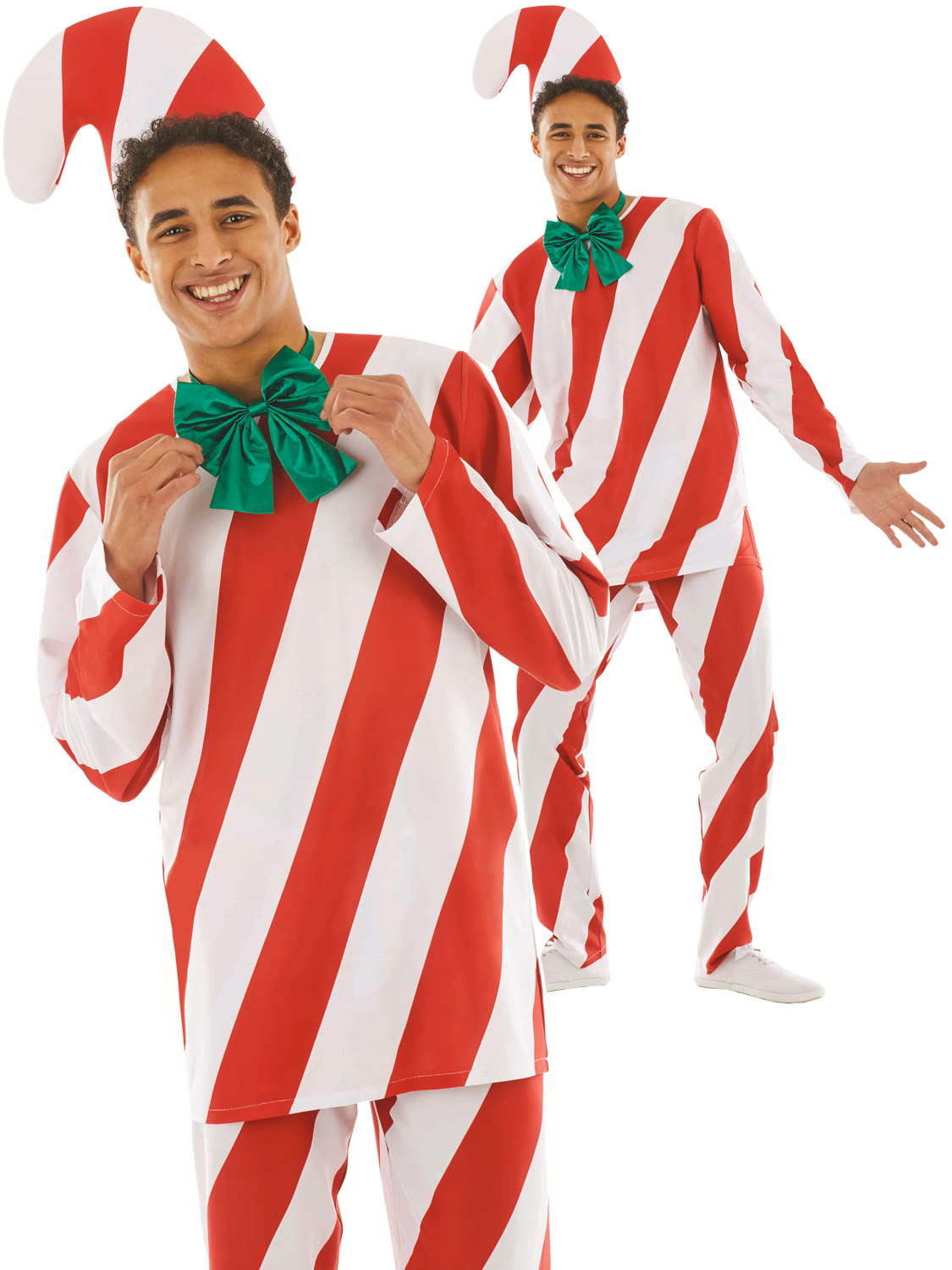 Mens candy cane costume adults christmas fancy dress novelty fun transform yourself into a traditional christmas cane with this mens festive costume perfect for a xmas night out solutioingenieria Images