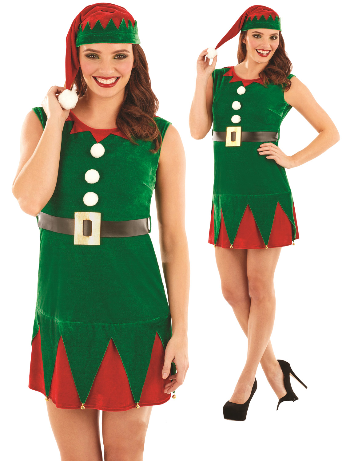 Ladies miss elf costume adults christmas fancy dress womens santas transform yourself into one of santas helpers with this ladies elf costume perfect for a christmas night out solutioingenieria Choice Image