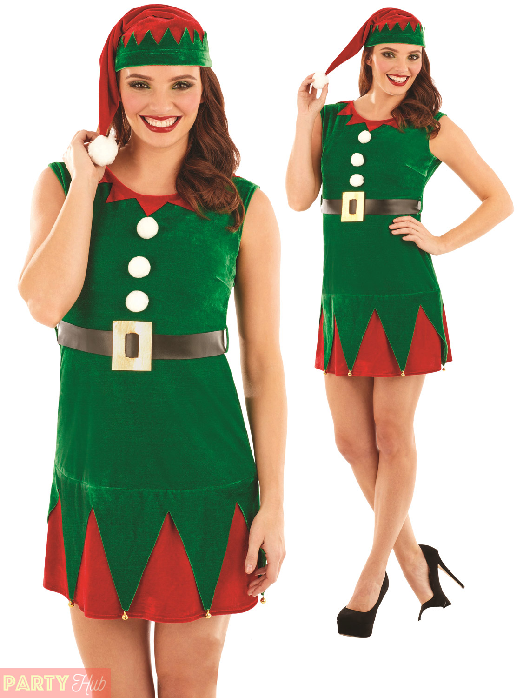 Ladies Miss Elf Costume Adults Christmas Fancy Dress -7815