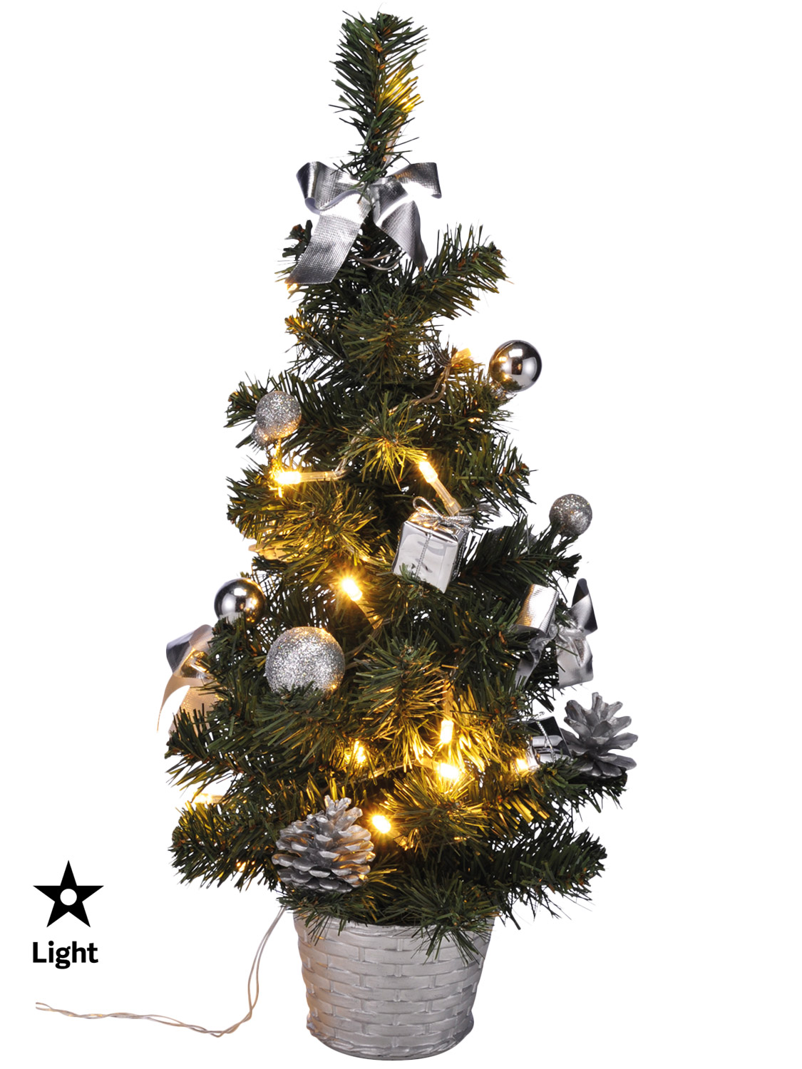 Mini Pre lit Christmas Tree 75cm 60cm 2ft Artificial ...