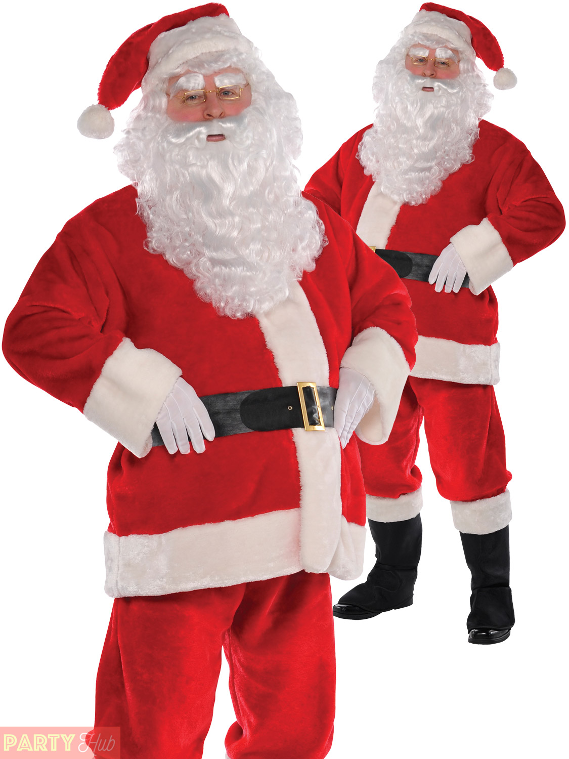 Santa Suit Father Christmas Fancy Dress Costume Deluxe Mens Xmas Outfit 4 Adult
