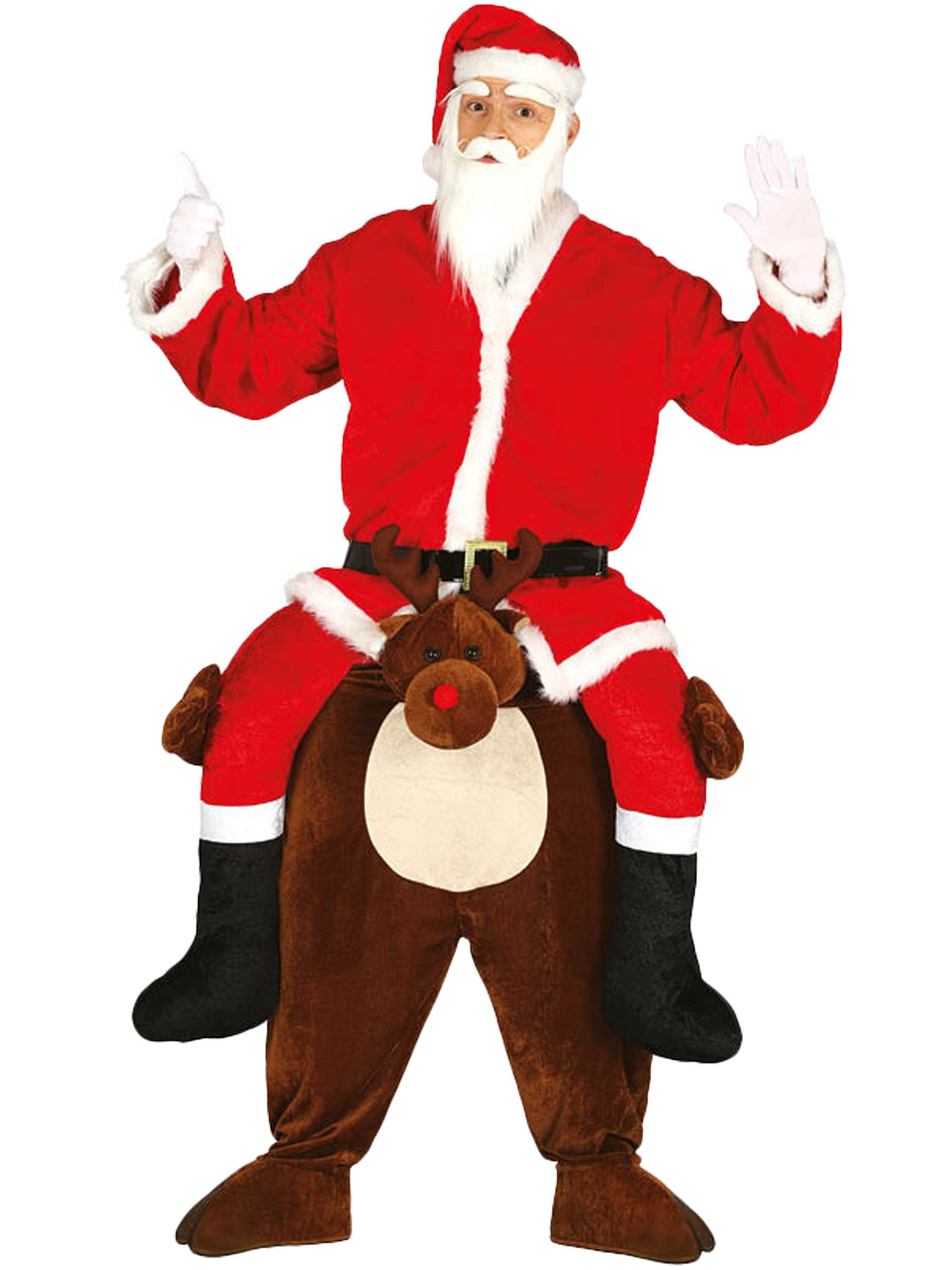 Christmas Fancy Dress Funny.Details About Adults Piggy Back Reindeer Costume Mens Santa Christmas Fancy Dress Funny Outfit