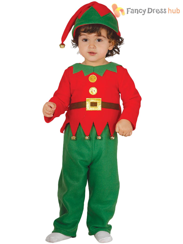 Baby Toddler Elf Costume Boys Girls Christmas Fancy Dress Santas ...
